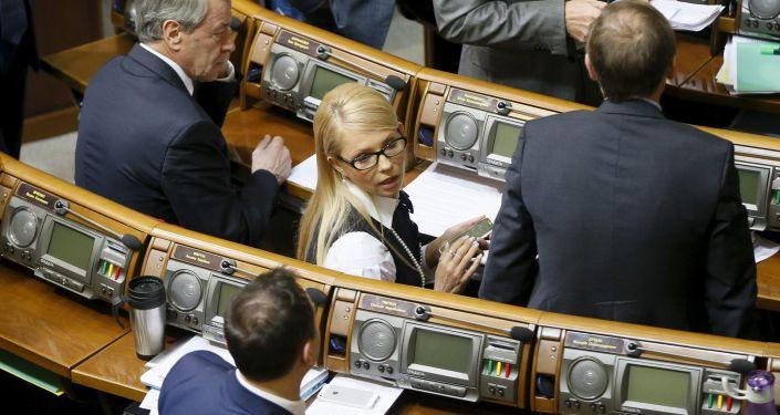 Julia Tymoszenko na posiedzeniu Rady Najwyższej Ukrainy w Kijowie