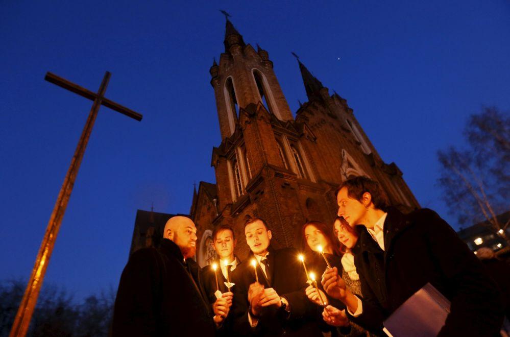 Obchody Wielkanocne w kościele katolickim w Krasnojarsku