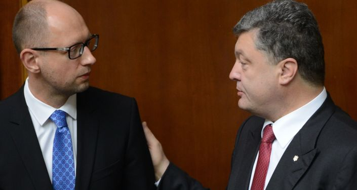 Prezydent Ukrainy Petro Poroszenko i premier Arsenij Jaceniuk