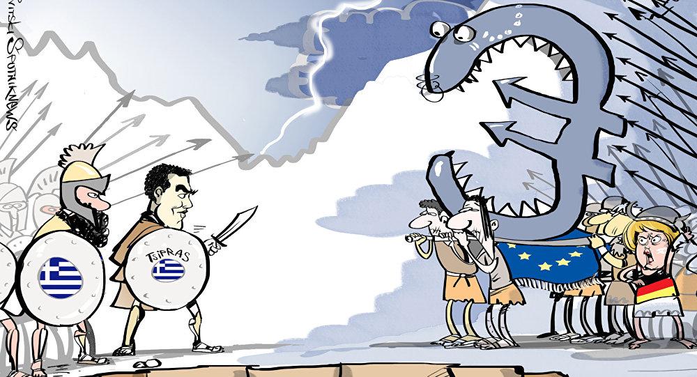Wizyta premiera Grecji Aleksisa Tsiprasa w Rosji, karykatura
