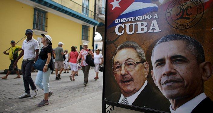 Barack Obama i Raul Castro na plakacie