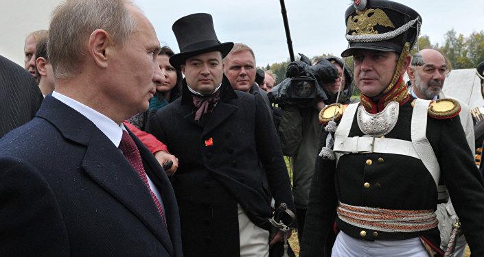 Władimir Putin na rekonstrukcji bitwy pod Borodino