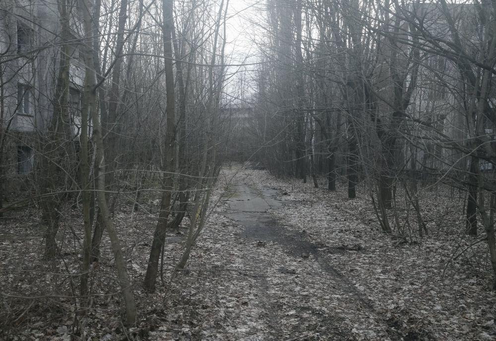 Opuszczona droga w mieście Prypeć