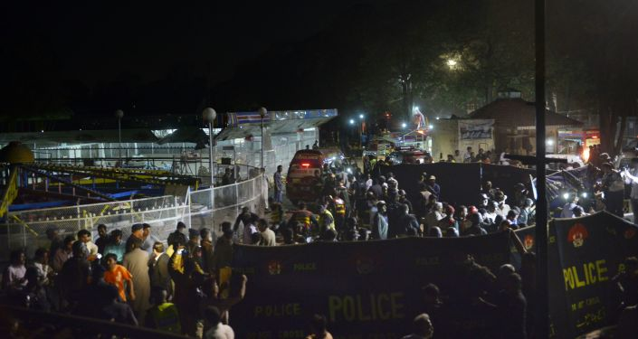 Policja na miejscu zamachu w Lahaur