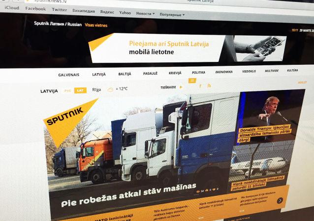 Strona multimedialnej agencji Sputnik w języku łotewskim