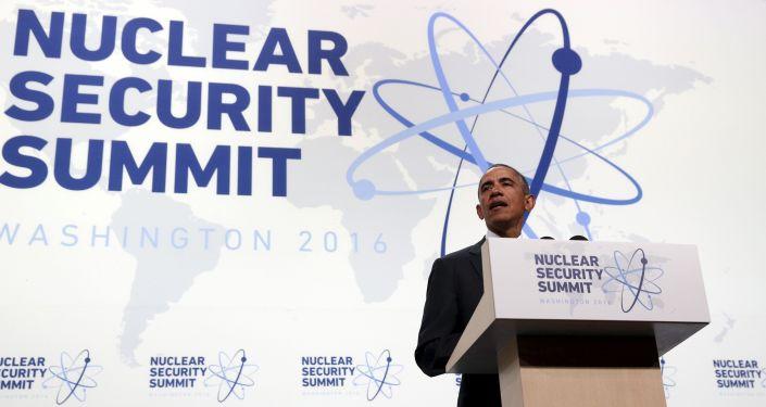 Prezydent Stanów Zjednoczonych Barack Obama  na szczycie bezpieczeństwa nuklearnego w Waszyngtonie