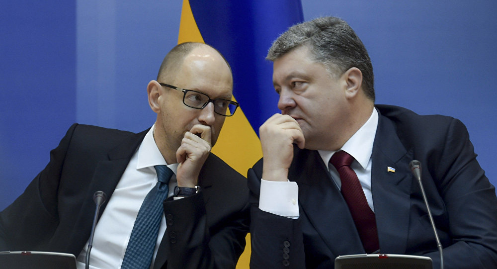 Premier Arsenij Jaceniuk i prezydent Petro Poroszenko