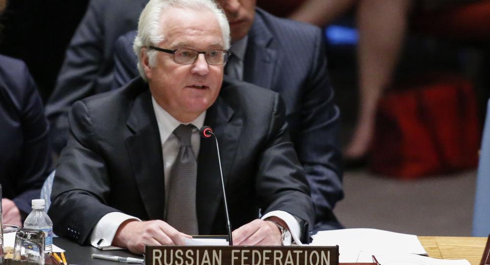 Stały przedstawiciel Rosji Witalij Czurkin na posiedzeniu Rady Bezpieczeństwa ONZ