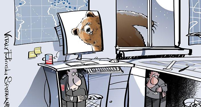 Karykatura: Pentagon nie będzie w stanie odbijać cybernetycznych kontrataków swoich przeciwników