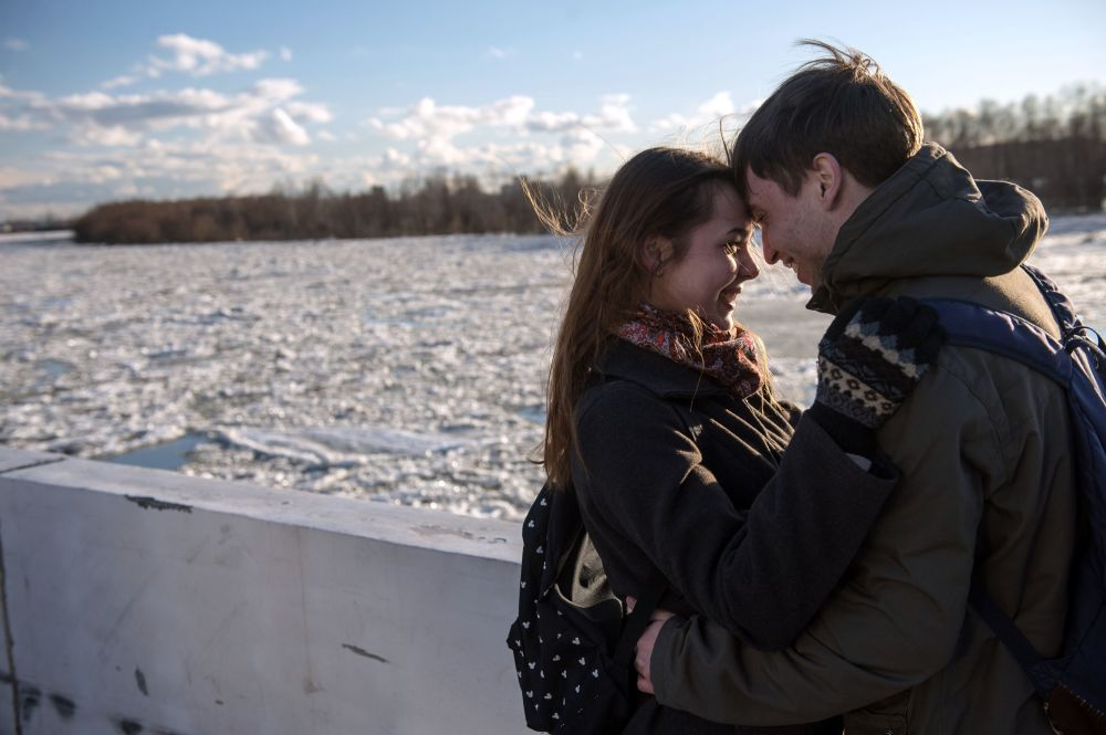 Kra lodowa na rzece Irtysz w Omskie