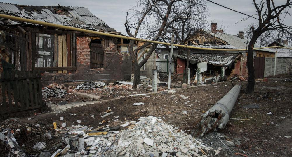 Zniszczona wioska Trudowskie w rejonie petrowskim obwodu donieckiego