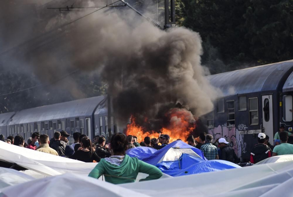 Pożar w obozie uchodźców w miejscowości Idomeni, Grecja