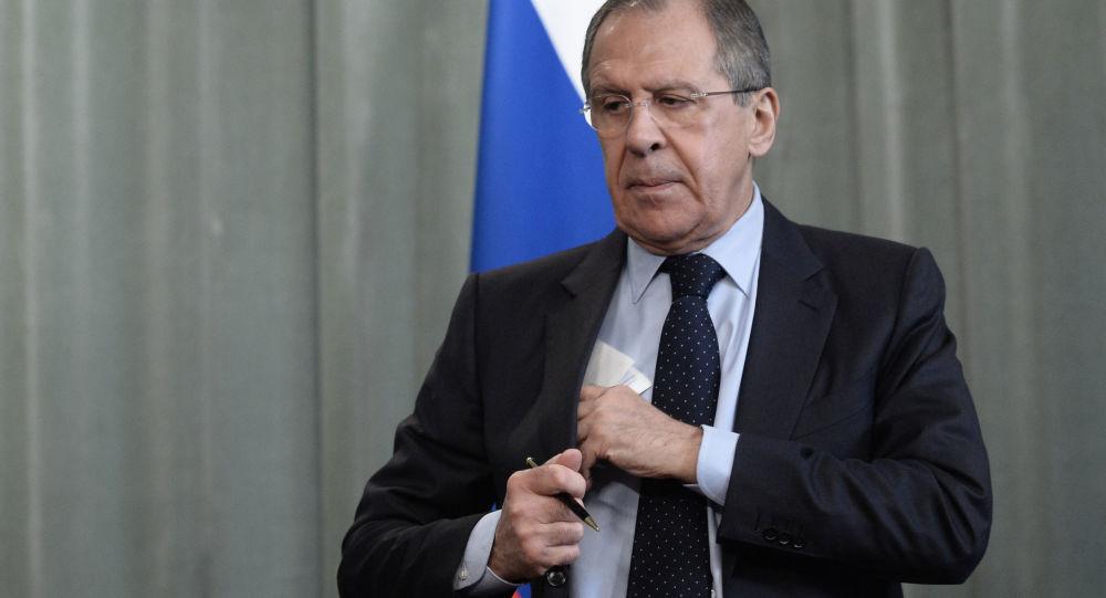 Minister spraw zagranicznych Rosji Sergiej Ławrow po konferencji prasowej w Moskwie