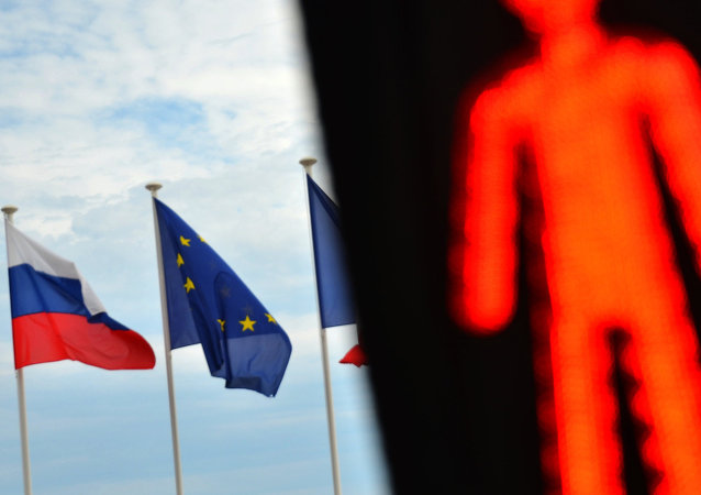 Flags of Russia, EU and France