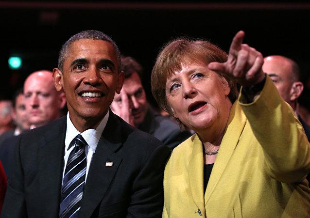 Prezydent USA Barack Obama i kanclerz Niemiec Angela Merkel w Hanowerze
