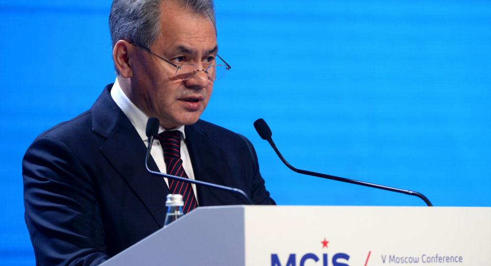 Minister obrony Rosji Siergiej Szojgu na V Moskiewskiej Konferencji ds. Bezpieczeństwa Międzynarodowego