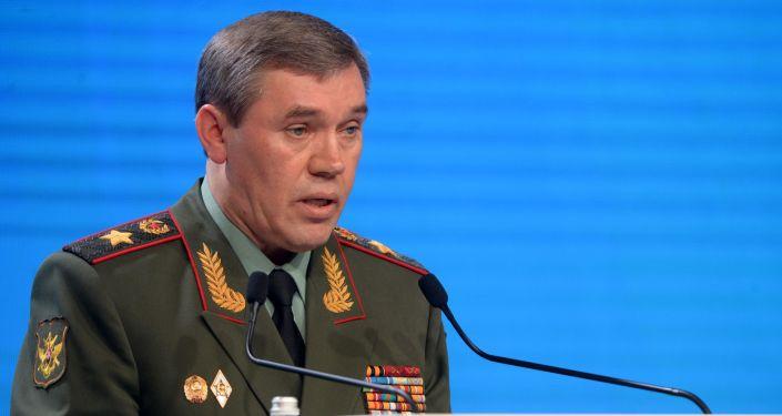 Szef Sztabu Generalnego Sił Zbrojnych Rosji Walerij Gierasimow na V Moskiewskiej Konferencji ds. Bezpieczeństwa Międzynarodowego