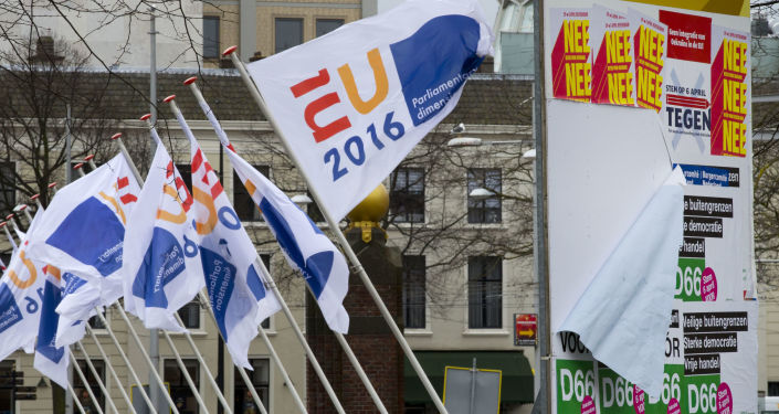 Flagi holenderskiego przedstawicielstwa w UE