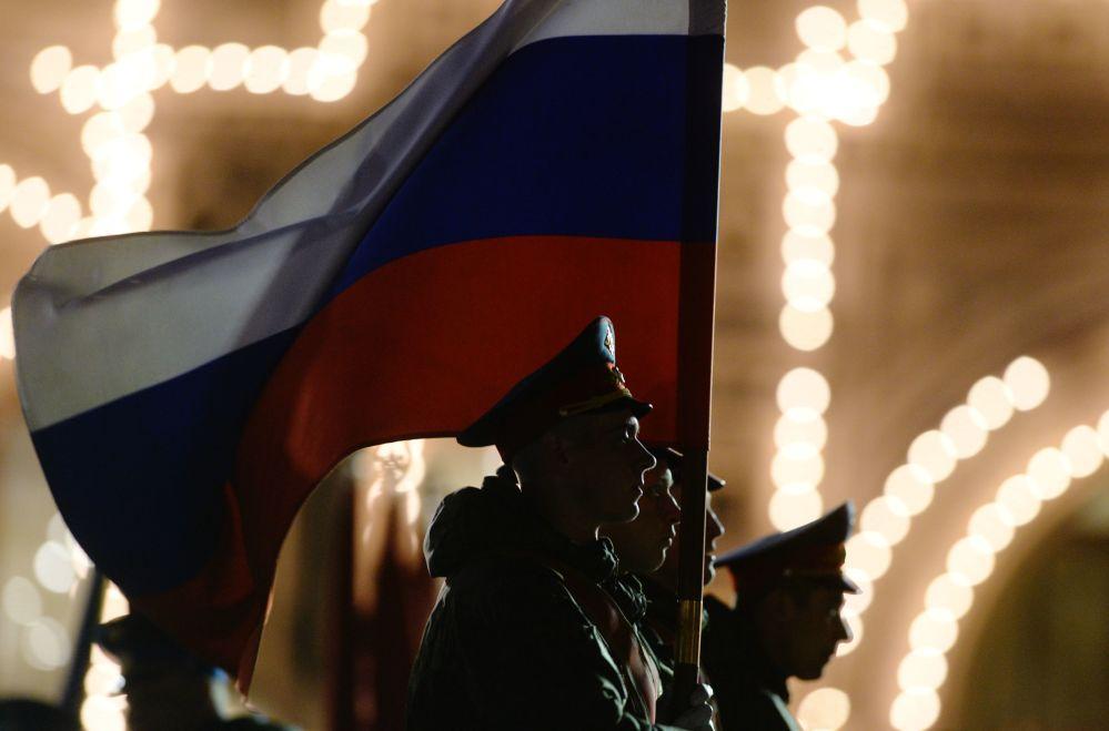 Poczet sztandarowy podczas próby parady wojskowej z okazji 71. rocznicy Dnia Zwycięstwa w Wielkiej Wojnie Ojczyźnianej na Placu Czerwonym w Moskwie.