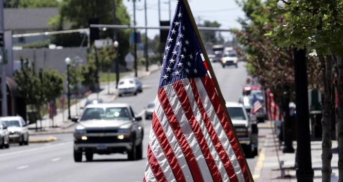 Flaga Stanów Zjednoczonych na ulicy Madrasu, USA