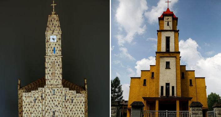 Przedstawienie Świątyni Św. Ducha w Rudzie Śląskiej i jej kopii wykonanej z zapałek