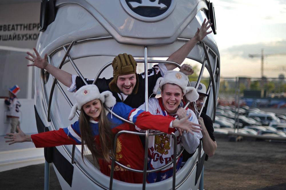 Rosyjscy kibice przed rozpoczęciem MŚ-2016 w hokeju