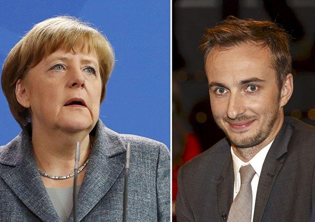 Kanclerz Angela Merkel i Jan Böhmermann