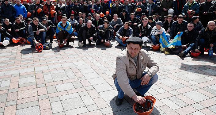 Akcja protestacyjna górników przy Radzie Najwyższej Ukrainy, 23.04.2015