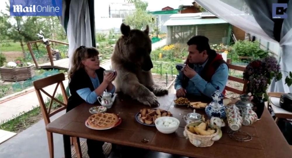 Jurij i Swietlana Pantieliejenko z niedźwiedziem Stefanem.