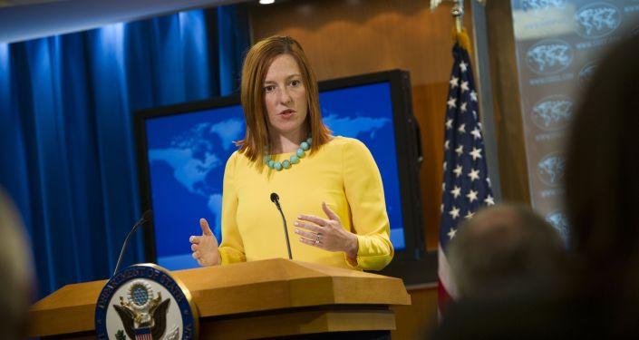 Rzecznik Departamentu Stanu USA Jens Psaki na briefingu w Waszyngtonie