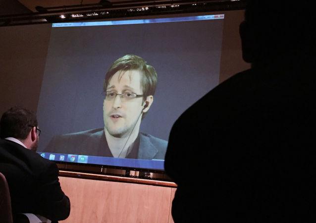 Transmisja telekonferencji byłego pracownika CIA Edwarda Snowdena na Uniwersytecie Johnsa Hopkinsa w Baltimore