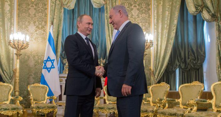 Prezydent Rosji Władimir Putin i premier Izraela Binjamin Netahjahu podczas spotkania na Kremlu
