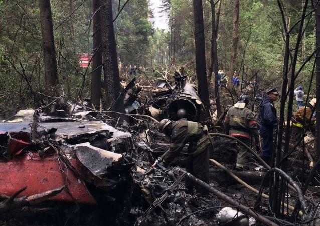 Policja i strażacy na miejscu katastrofy Su-27 pod Moskwą