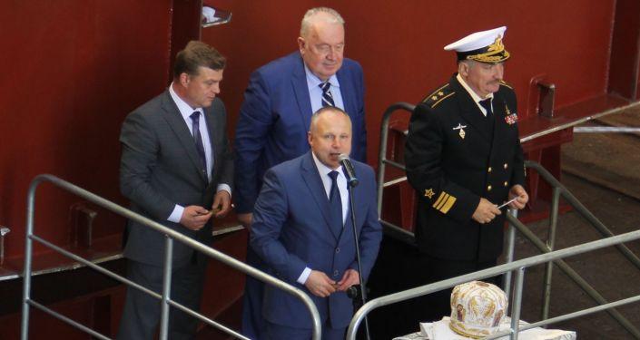 Uroczysta ceremonia położenia stępki pod oceanograficzny okręt badawczy Ałmaz