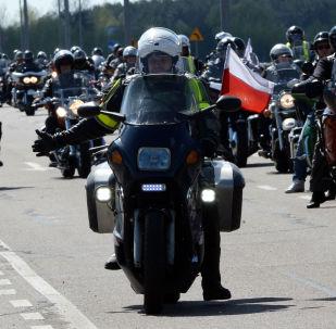 Polscy motocykliści protestują przeciwko odmowie wjazdu na terytorium kraju dla członków klubu Nocne Wilki.