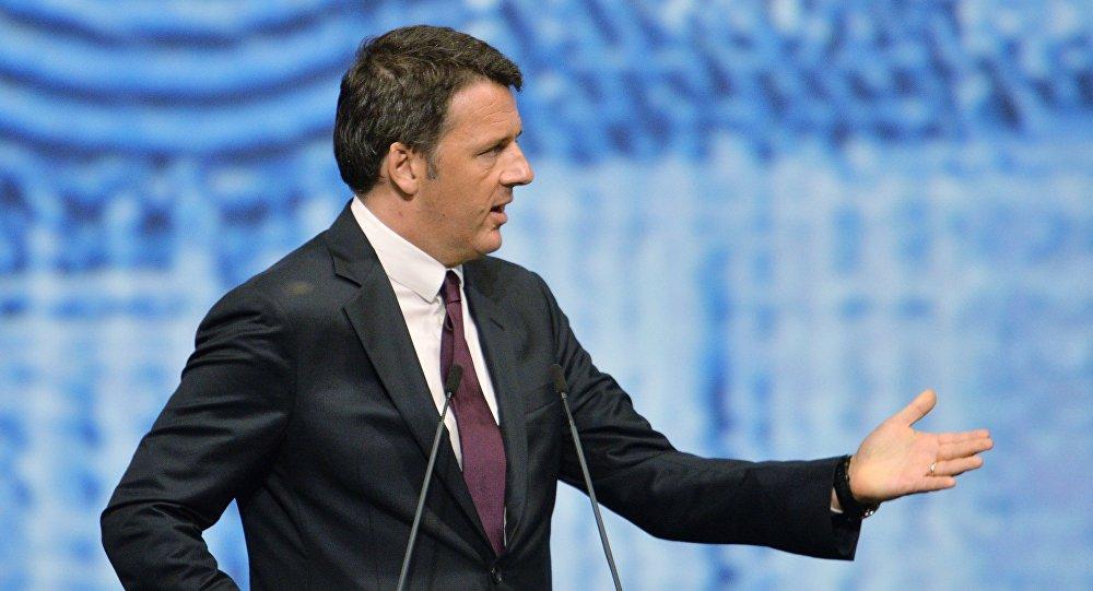 Matteo Renzi występuje na Petersburgskim Forum Ekonomicznym.