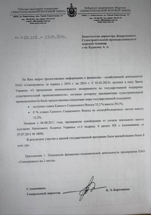 Odpowiedź Sewastopolskiej Morskiej Fabryki do rosyjskiego Ministerstwa Przemysłu i Handlu