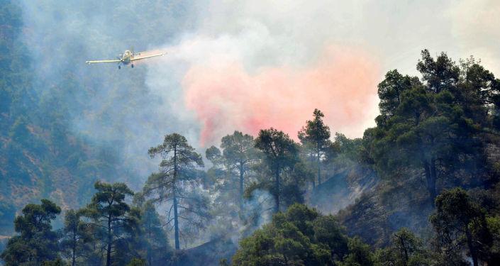 Gaszenie pożarów w rejonie gór Troodos na Cyprze