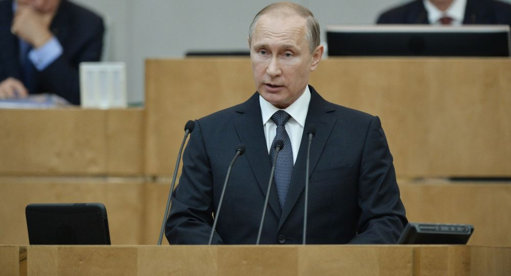 Prezydent Rosji Władimir Putin na plenarnym posiedzeniu Dumy Państwowej Rosji