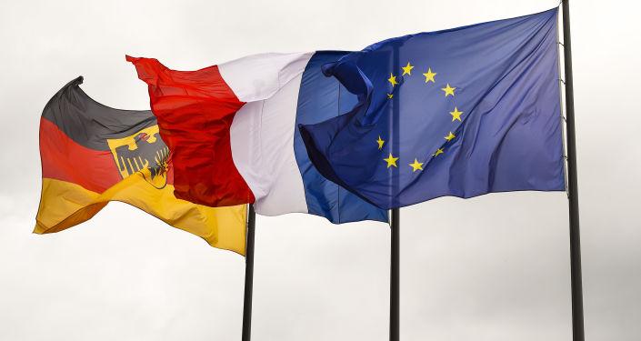 Flagi Niemiec, Francji i UE