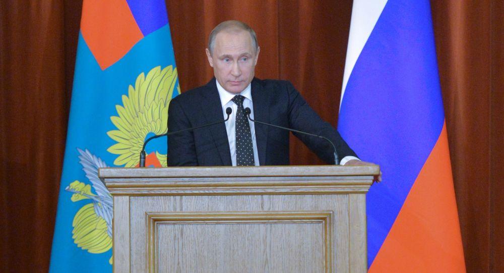Prezydent Rosji Władimir Putin na spotkaniu ambasadorów i stałych przedstawicieli Federacji Rosyjskiej w zagranicznych państwach