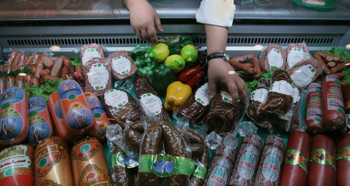 Pawilon z produkcją mięsną na Pierwszej Moskiewskiej Wystawie Międzynarodowej Halal