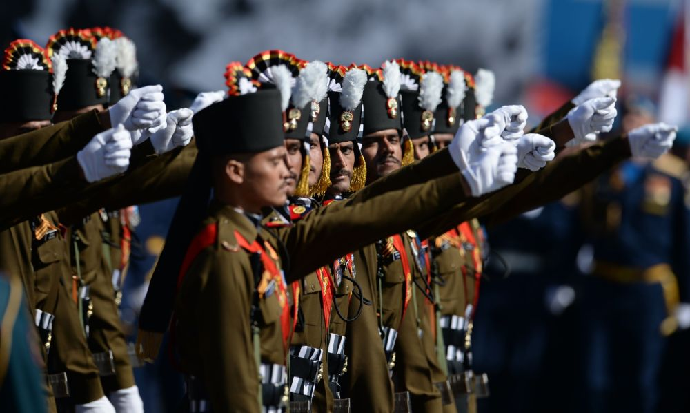 """Jeden z najstarszych pułków Armii Indyjskiej - """"Grenadierzy"""" - na Placu Czerwonym"""