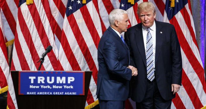 Gubernator stanu Indiana Mike Pence i kandydat na prezydenta USA Donald Trump