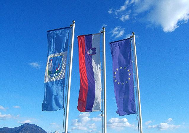Flagi Słowenii i UE