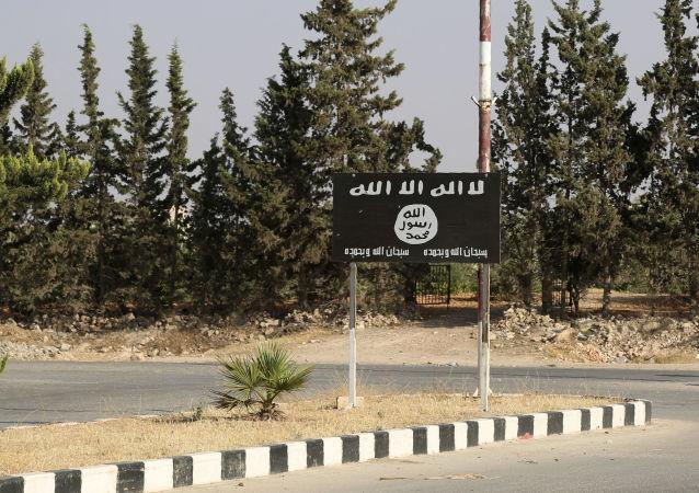 Flaga Daesh w Manbidż, Syria