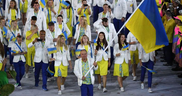 Ukraińska reprezentacji w trakcie ceremonii otwarcia XXXI Letnich Igrzysk Olimpijskich w Rio