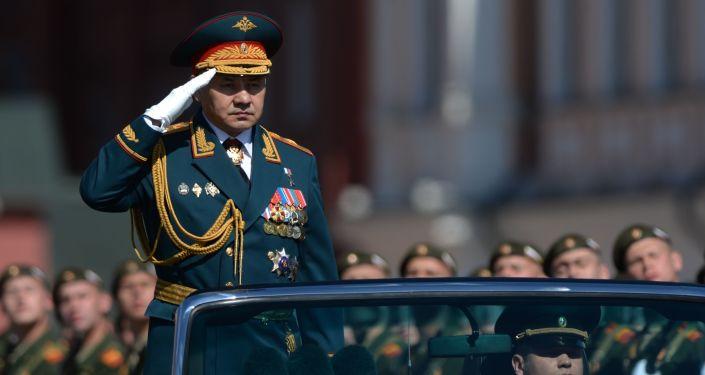 Siergiej Szojgu, minister obrony Rosji, podczas Parady Zwycięstwa na Placu Czerwonym