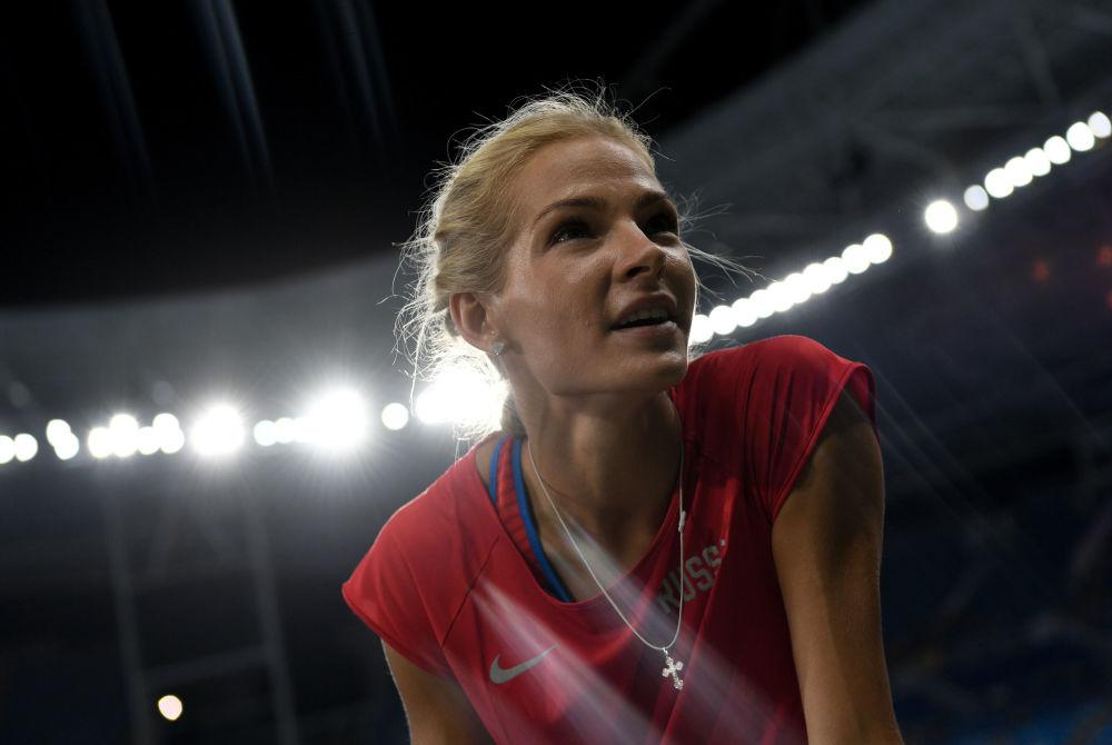 Rosyjska lekkoatletka Daria Kliszyna przed zawodami kwalifikacyjnymi w skoku w dal na lekkoatletycznym turnieju kobiet na XXXI letnich Igrzyskach Olimpijskich