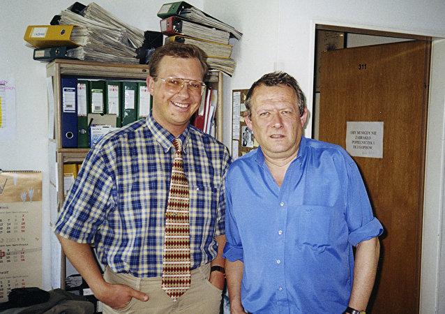 Redaktor naczelny Gazety Wyborczej Adam Michnik i redaktor Leonid Swiridow. Warszawa.